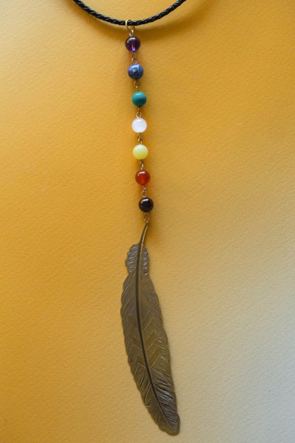Feather Chakra Necklace | Golden Blue