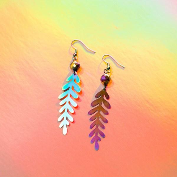 Metallic Earrings   Golden Blue