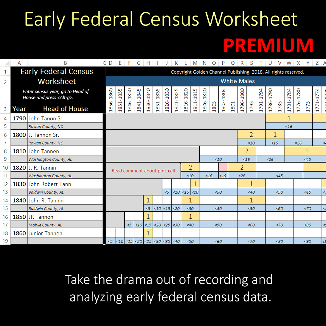 Early Federal Census Worksheet Premium Edition