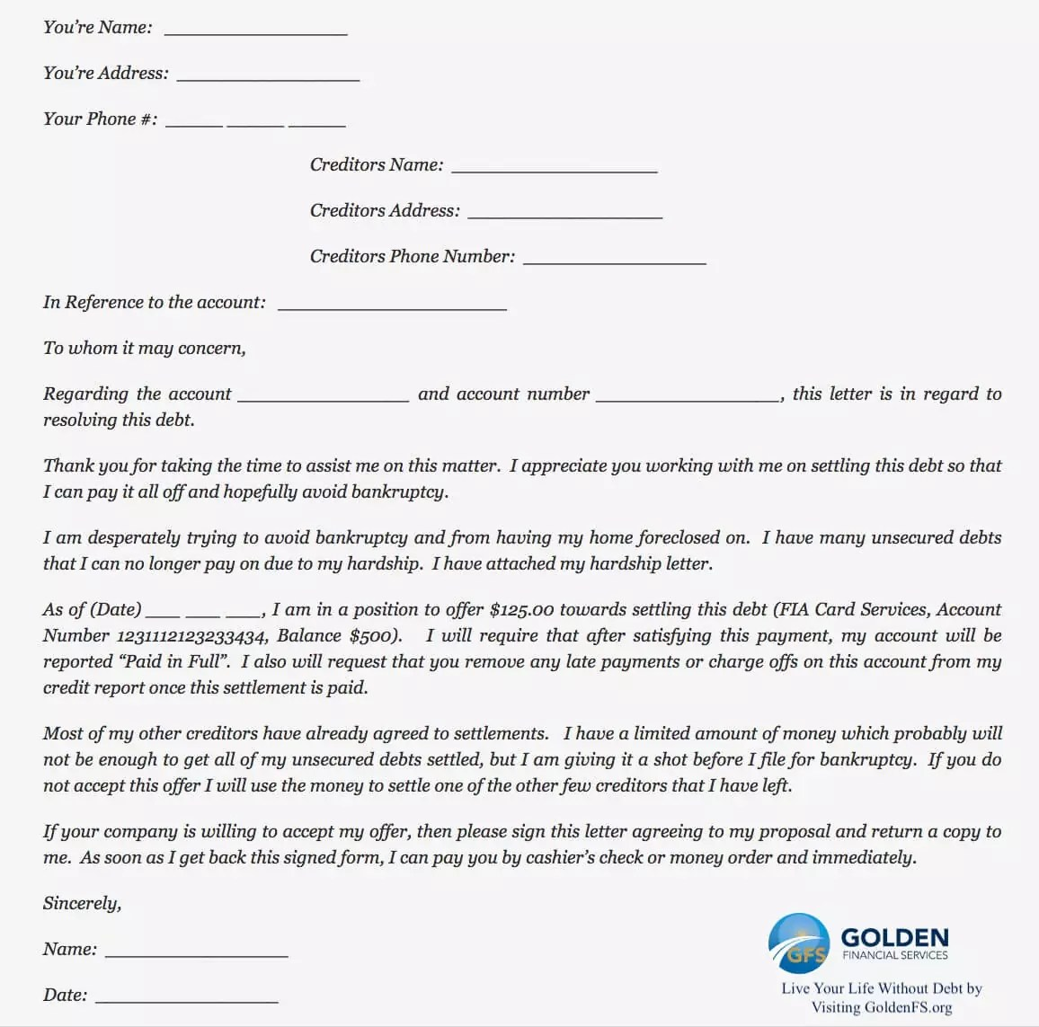 Sample Letter Early Settlement Of A Bank Loan