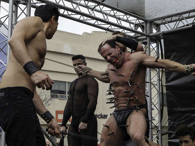 Participants in Kink.com's exhibition team give a demonstration during Folsom Street Fair in San Francisco, Calif. Sunday, Sept.21, 2014. Frank Ladra / Xpress.