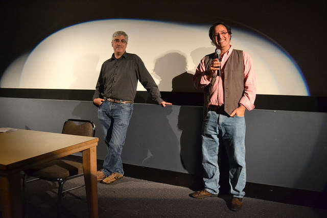 Guest speakers David Watchtenheim (left) and Rob Marianetti (right) visit the SF State cinema department to do an early screening of their latest work, a short cartoon documentary dealing with depression Wednesday, Sept. 10, 2014. Helen Tinna / Xpress.