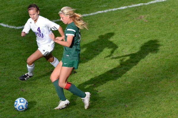 SF State player Autumn Fox tries to steal the ball from Megan Kisslan during a home game against Cal Poly Pomona Friday, Oct. 17, 2014. The Gators lost 1-0 against the Broncos. Annastashia Goolsby / Xpress.