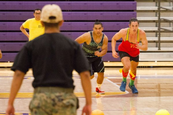 "Bobby Medina squares off against a rival team, Bobby ""Small Hands"" Medina at SF State's Annual Costume Dodgeball Tournament from 7-10 p.m. Friday, Oct. 24, 2014, in the Gymnasium. Eric Gorman/Xpress."