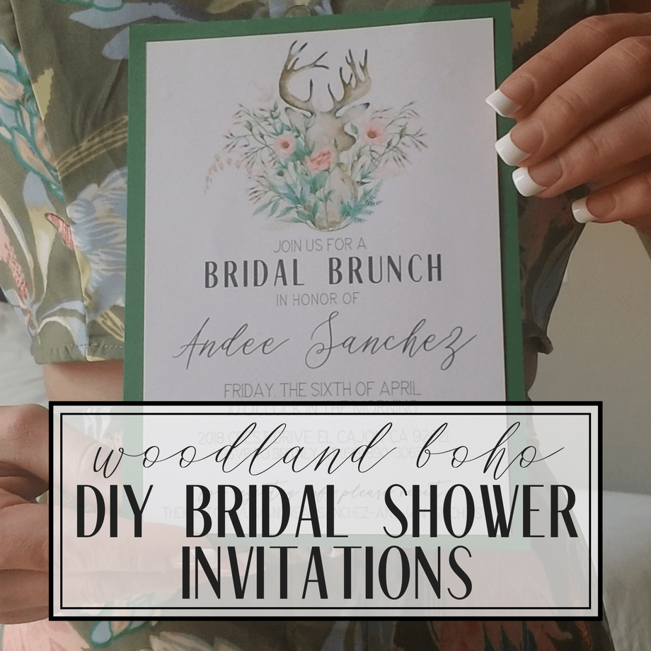 woodland boho diy bridal shower invitations from httpsgoldenglueguncom