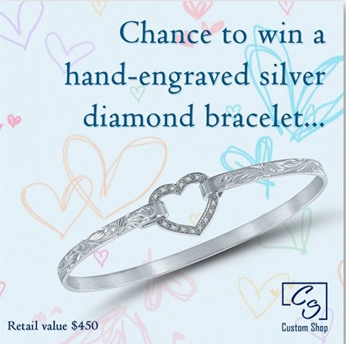 Win a Unique Hand-Engraved Diamond Silver Bracelet
