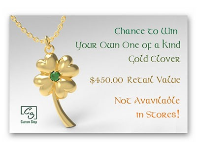 Win a One of a Kind Gold Four Leaf Clover Pendant
