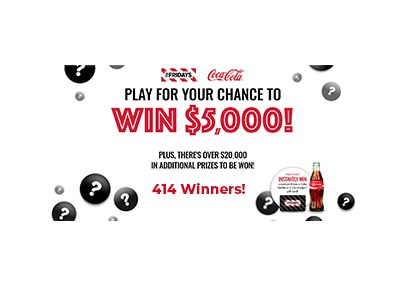 TGI Fridays Cash Sweepstakes and Instant Win Game