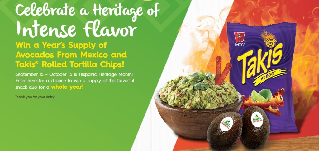 Avocados from Mexico Hispanic Heritage Month Text Sweepstakes