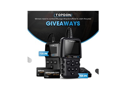 Win AMAZON Gift Card & TOPDON OBD2 Scanner Giveaway