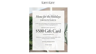 Karen Kane Home for the Holidays Sweepstakes