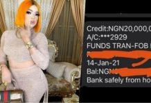 Bobrisky shows off 20 million naira credit alert