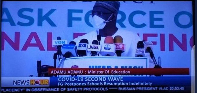 BREAKING: FG Postpones Jan. 18, 2021 School Resumption Indefinitely