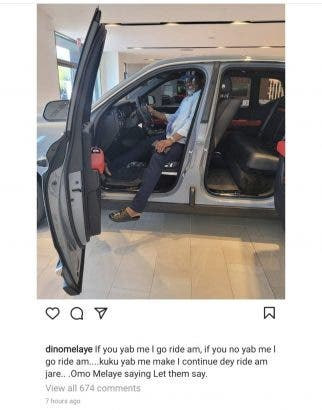 Bursted : Automobile company Drags Dino Maleye Over Unpaid unpaid debt after  he flaunted his new Rolls Royce- PHOTO