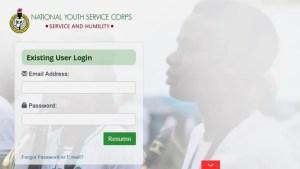 NYSC Portal Login Dashboard 2021 July