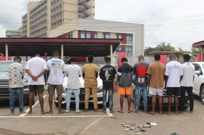 11 suspected Internet fraudsters arrested with eight exotic cars in Benin City (photos)