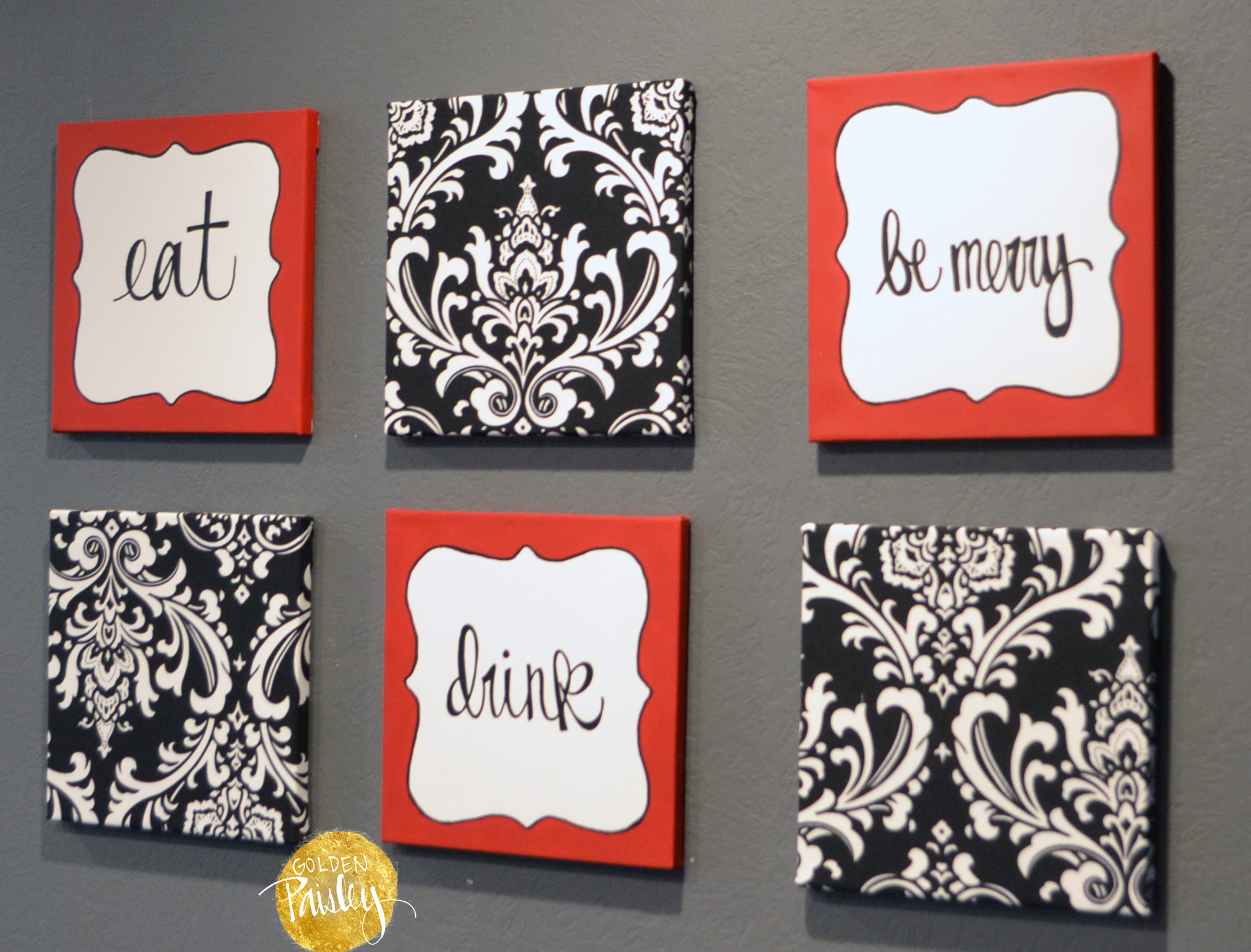 "three piece kitchen sets tables cheap red and black damask eat drink be merry ""chef"" wall decor set"