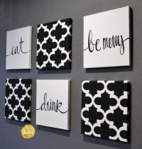 Black and White Moroccan 6 Pack Wall Art
