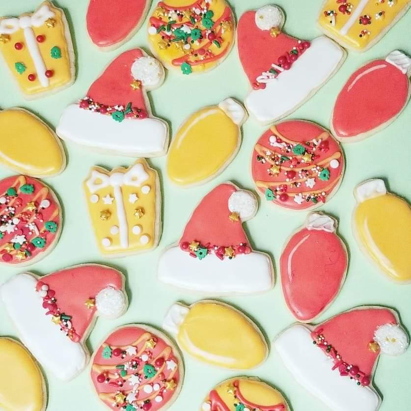 santa hat ornament lights sugar cookies