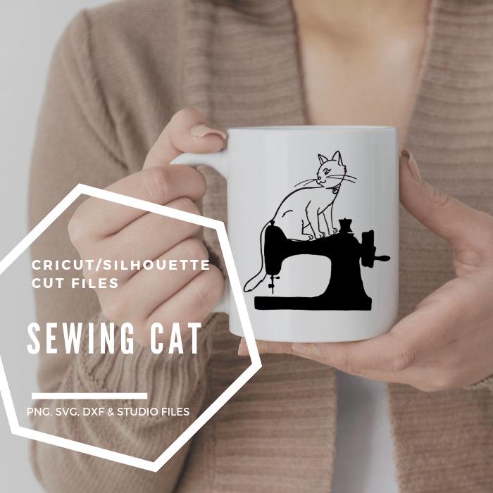 cat on sewing machine cut image
