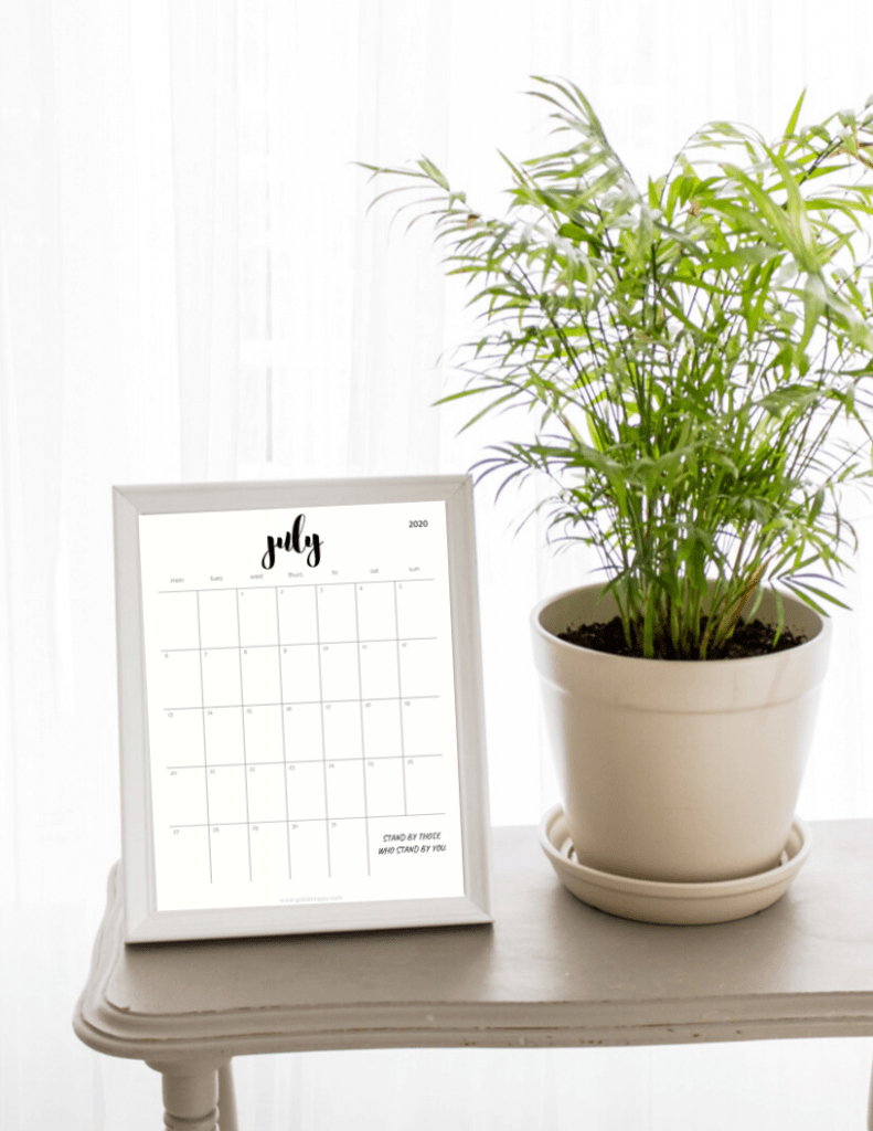 2020 pretty printable monthly calendar by plant
