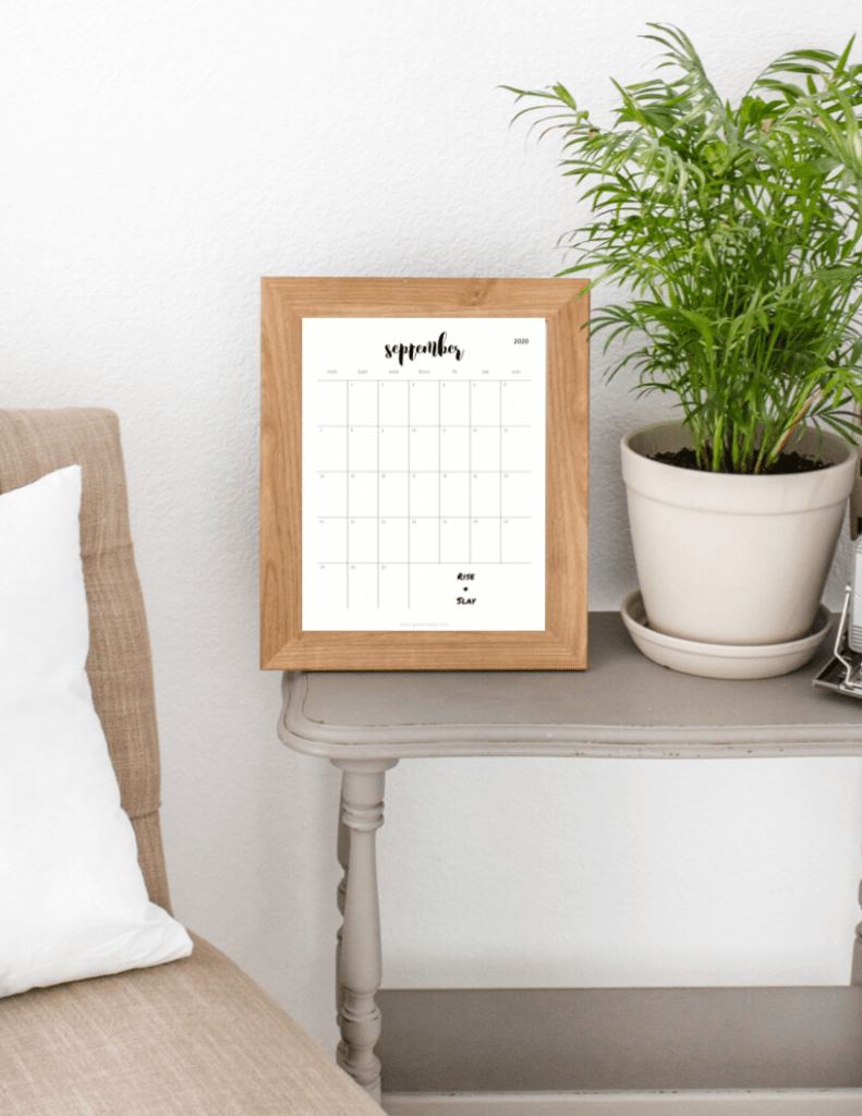 2020 family monthly calendar in living room