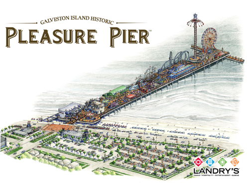 Following the destruction Hurricane Ike left behind on Galveston Island, Tilman J. Fertitta bought the city-owned historic Pleasure Pier and brought it back to life as a new $60-plus million amusement pier. It opened this year just in time for the city's tourism crowds. COURTESY LANDRY'S INC.