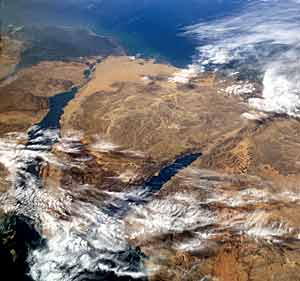 Вид на Синайский полуостров из космоса