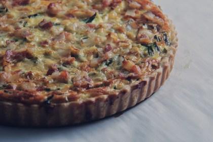 quiche, tart, savory, leeks, asparagus, leek, gruyere, cheese, eggs, breakfast, brunch, bacon, lardon, dough, recipe