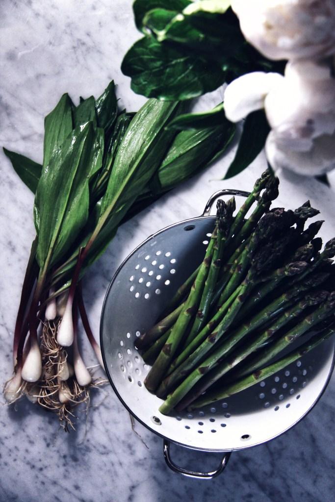 ramps, seasonal produce, garlic, onion, spring, wild onions, asparagus, risotto, mushrooms. locavore, farmers market