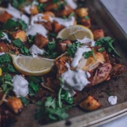 Harissa Chicken & Potatoes with Greek Yogurt Sauce