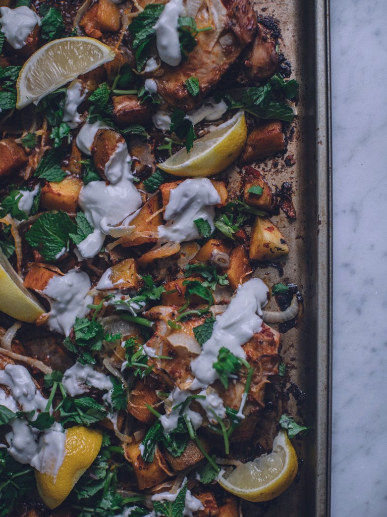 harissa, chicken, potatoes, dinner, recipe, spicy, yogurt, greek yogurt, fresh herbs, mint, middle eastern, moroccan cuisine, moroccan cooking, easy dinner, one pan meal, sheet pan, buttermilk