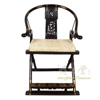 Antique Chinese Rosewood Horseshoe Back Folding Chair