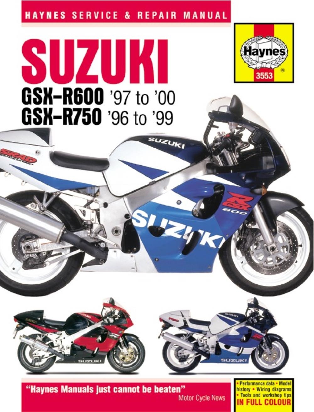medium resolution of haynes manual 3553 suzuki gsx r600 750 fours 96 99 special ebay 99 gsxr 600 wiring diagram