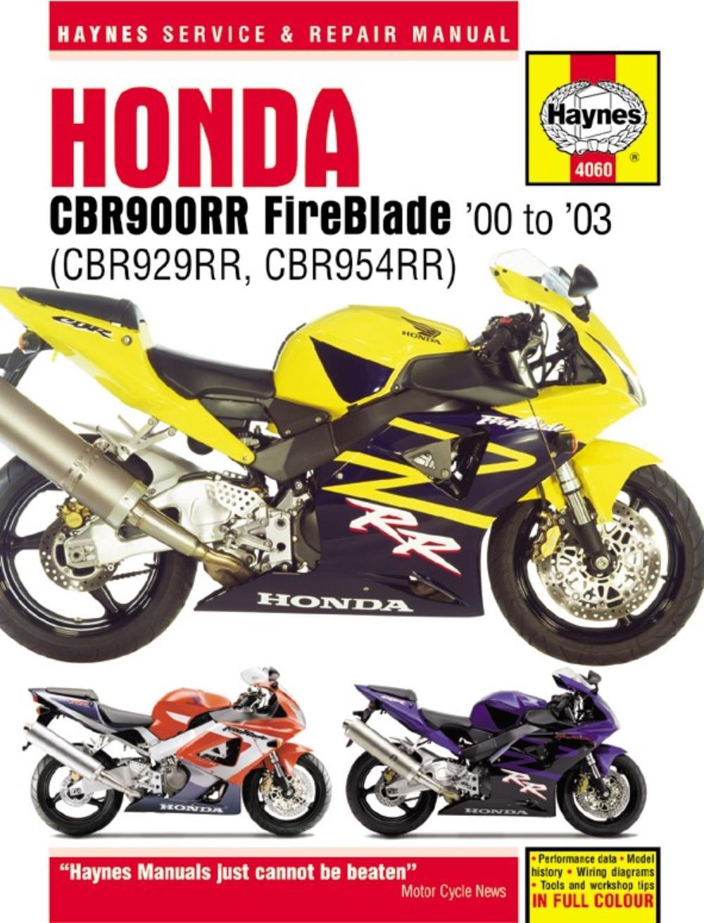 medium resolution of haynes manual 4060 honda cbr900rr 00 on special