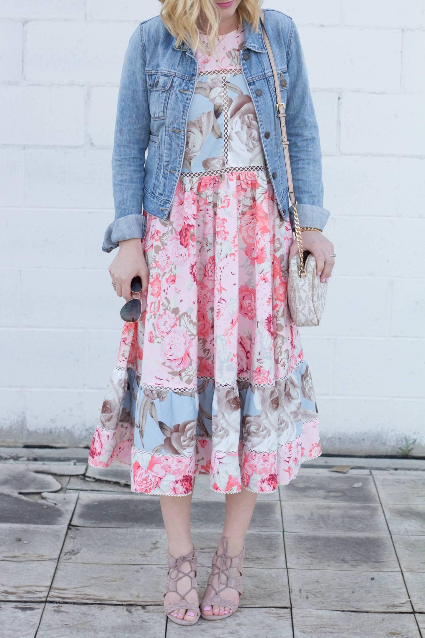 Floral Midi Dress + Block Heels.