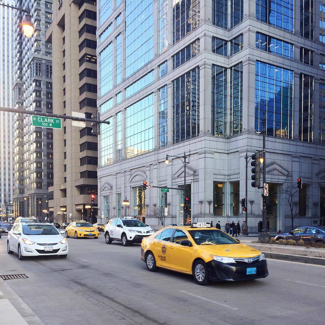 Taxis on Wacker Chicago