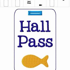 Goldfish Teacher Hall Pass Lanyard Embroidery Design