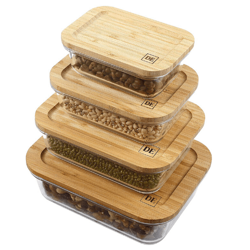 Set of 4 Bamboo & Glass Storage Containers - Eco-Friendly Gifts | Low Waste Gift Ideas | Goldilocks Effect
