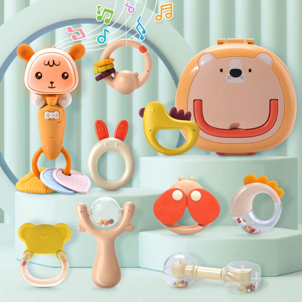 Baby rattles and teethers gift set