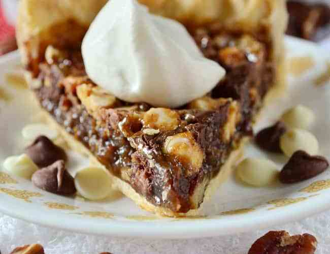 Triple chocolate pecan pie