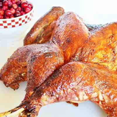 Butterflied Turkey with Cranberry Molasses Glaze