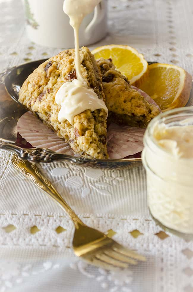 Cherry Scone with clotted cream