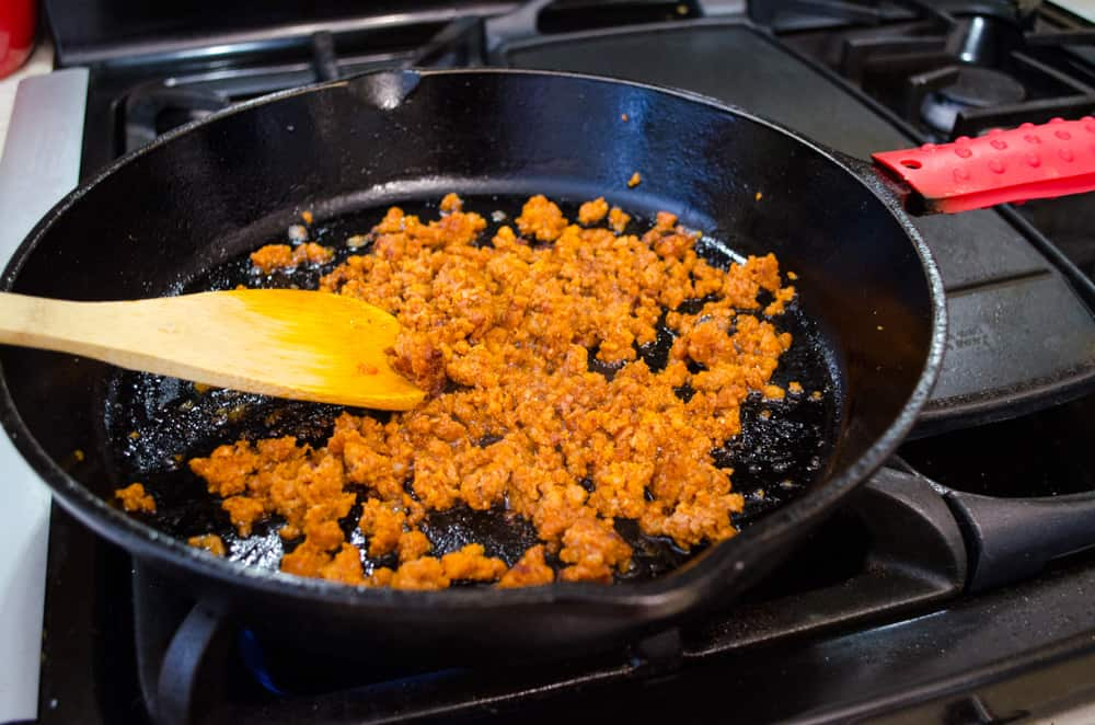 Chorizo cooking in the skillet