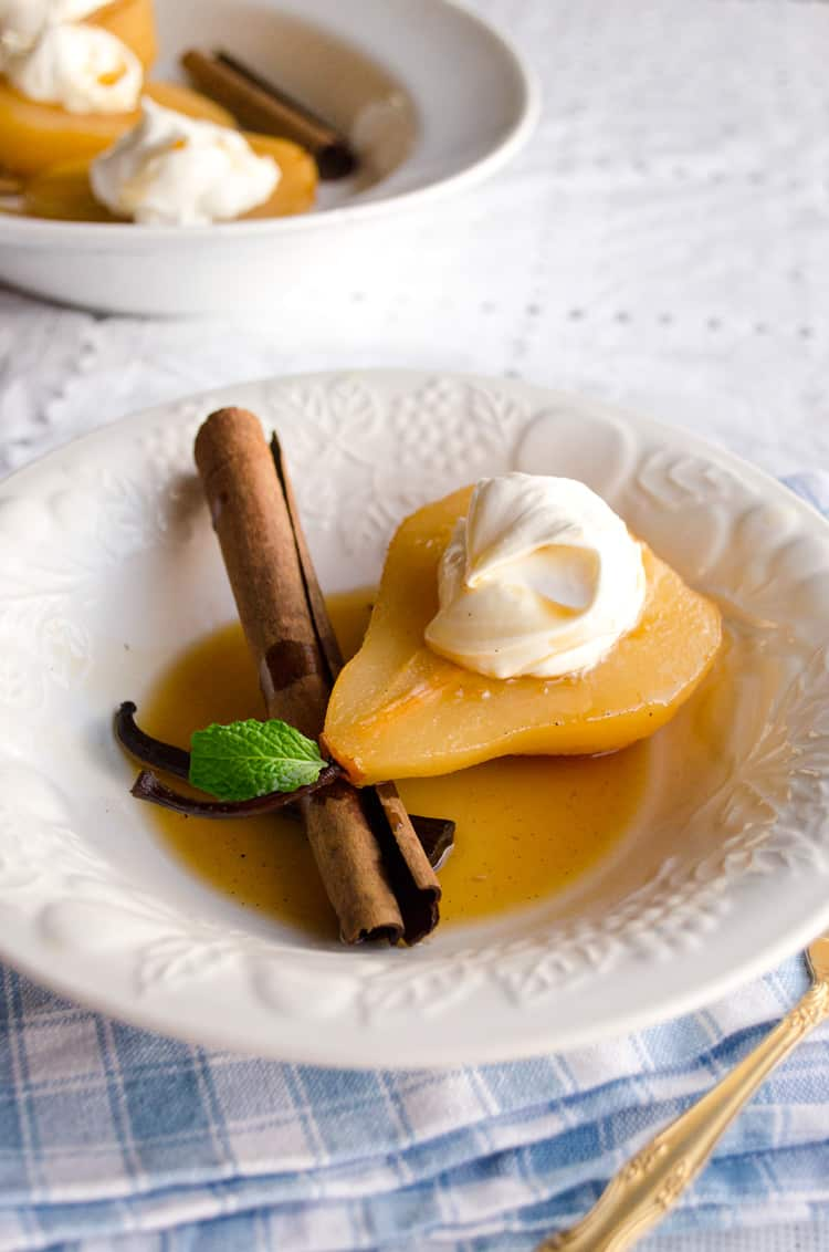 Vanilla cinnamon poached pears close up