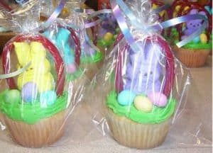 Peeps easter basket cupcakes