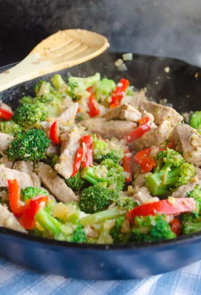 Broccoli Pork Stir Fry in the skillet
