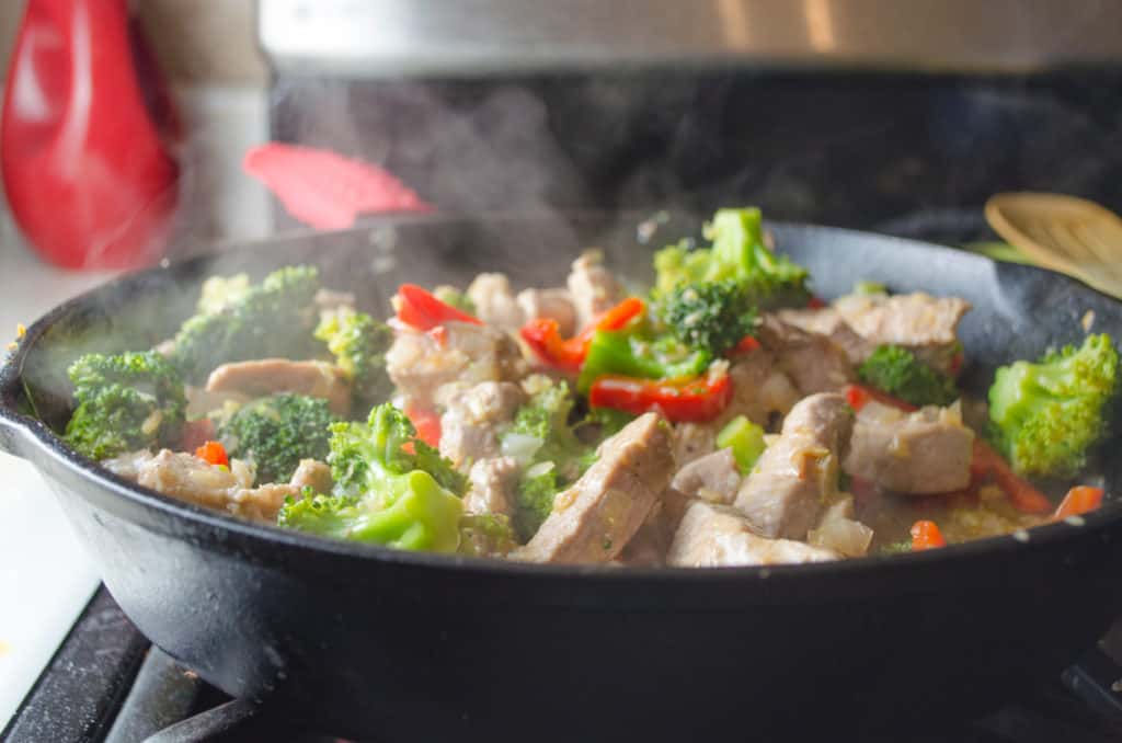 sizzling broccoli pork stir fry