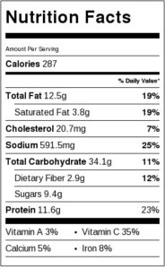 Nutrition Label for Roasted Corn and Poblano Chowder