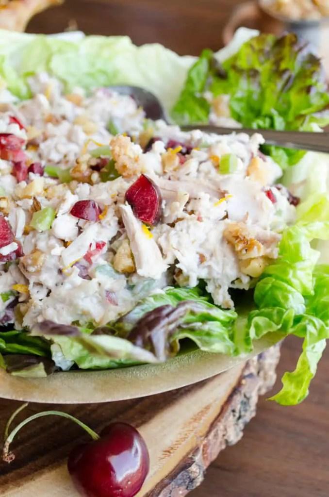 Cherry Orange Chicken Salad with Candied Walnuts